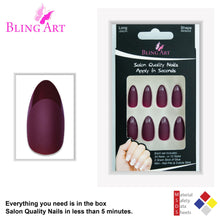 False Nails by Bling Art Red Brown Matte Almond Stiletto 24 Fake Long Tips