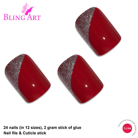False Nails by Bling Art Red Glitter French Squoval 24 Fake Medium Acrylic Tips - Bling Art
