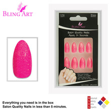 False Nails Bling Art Pink Gel Almond Stiletto Long Fake Acrylic Tips with Glue