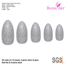 False Nails Bling Art Silver Gel Almond Stiletto Long Fake Acrylic Tips with Glue
