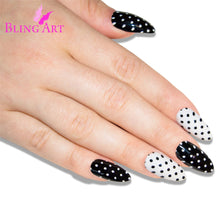False Nails by Bling Art Black White 24 Almond Stiletto Long Fake Tips with Glue