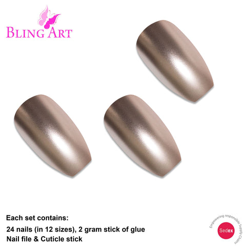 False Nails by Bling Art Beige Matte Metallic Ballerina Coffin Fake Acrylic Tips - Bling Art