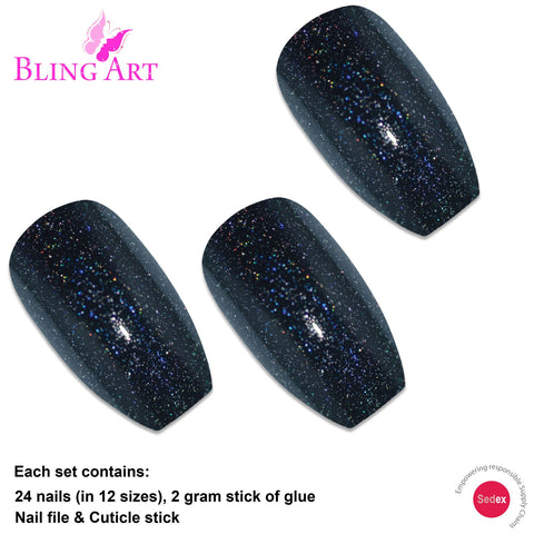 False Nails by Bling Art Black Gel Ballerina Coffin 24 Fake Long Acrylic Tips - Bling Art