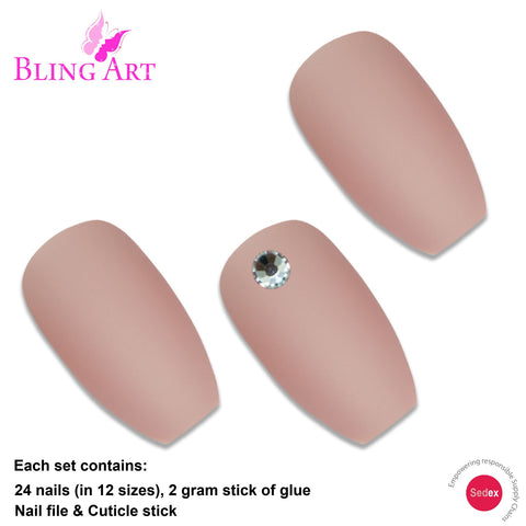 False Nails by Bling Art Beige Matte Ballerina Coffin 24 Fake Long Acrylic Tips - Bling Art