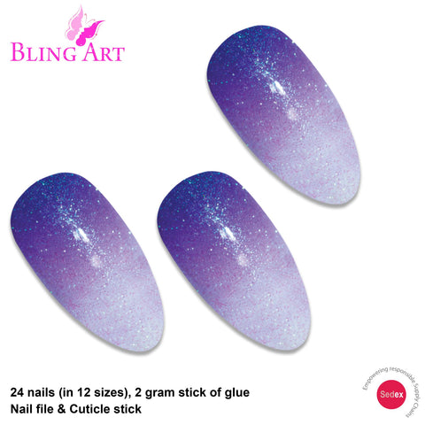 False Nails by Bling Art Purple Gel Ombre Almond Stiletto 24 Fake Acrylic Tips - Bling Art