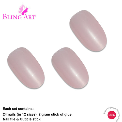 False Nails by Bling Art Pink Glitter Oval Medium Fake Acrylic 24 Tips with Glue - Bling Art
