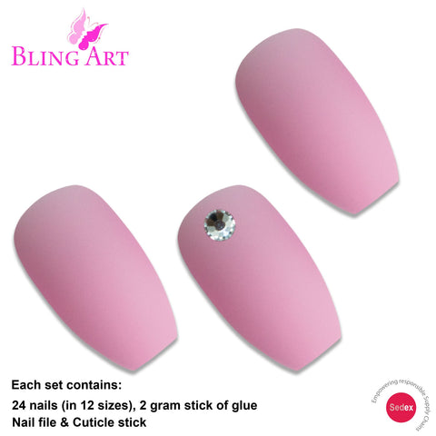 False Nails by Bling Art Pink Matte Ballerina Coffin 24 Fake Long Acrylic Tips - Bling Art