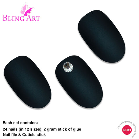 False Nails by Bling Art Black Matte Oval Medium Fake Acrylic 24 Tips with Glue - Bling Art