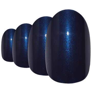 False Nails by Bling Art Blue Glitter Oval Medium Fake Acrylic 24 Tips with Glue - Bling Art