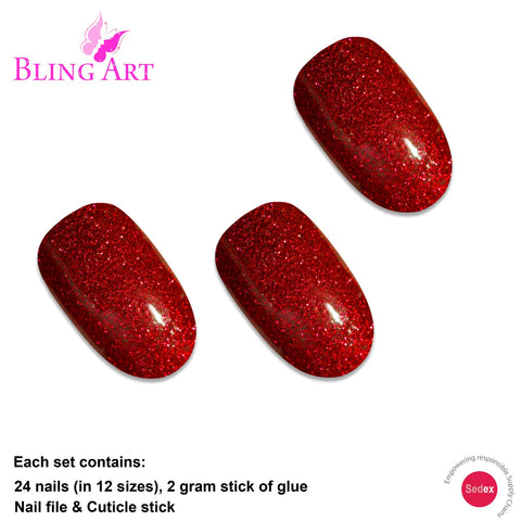 False Nails by Bling Art Red Gel Oval Medium Fake Acrylic 24 Tips with Glue - Bling Art