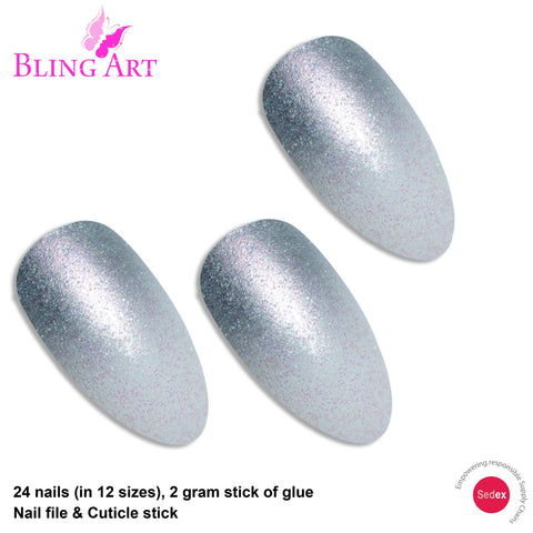 False Nails by Bling Art Silver Gel Ombre Almond Stiletto 24 Fake Acrylic Tips - Bling Art
