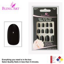 False Nails by Bling Art Black Polished Oval Medium Fake 24 Acrylic Nail Tips