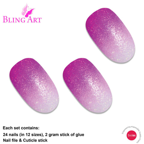 False Nails by Bling Art Magenta Gel Ombre Oval Medium Fake Acrylic 24 Tips - Bling Art