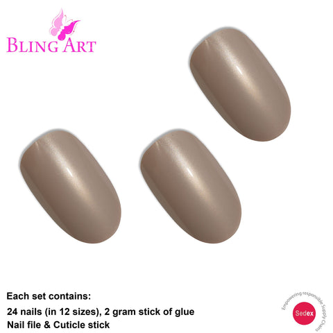 False Nails by Bling Art Beige Glitter Oval Medium Fake Acrylic 24 Tips with Glue - Bling Art