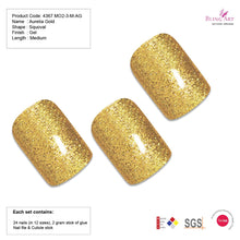 False Nails by Bling Art Gold Glitter French Squoval 24 Fake Medium Acrylic Tips