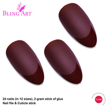 False Nails by Bling Art Brown Matte Almond Stiletto 24 Fake Long Acrylic Tips