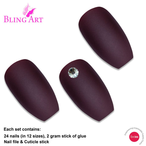 False Nails by Bling Art Brown Matte Ballerina Coffin 24 Fake Long Acrylic Tips - Bling Art