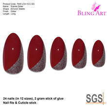 False Nails by Bling Art Red Glitter Almond Stiletto Acrylic 24 Fake Long Tips