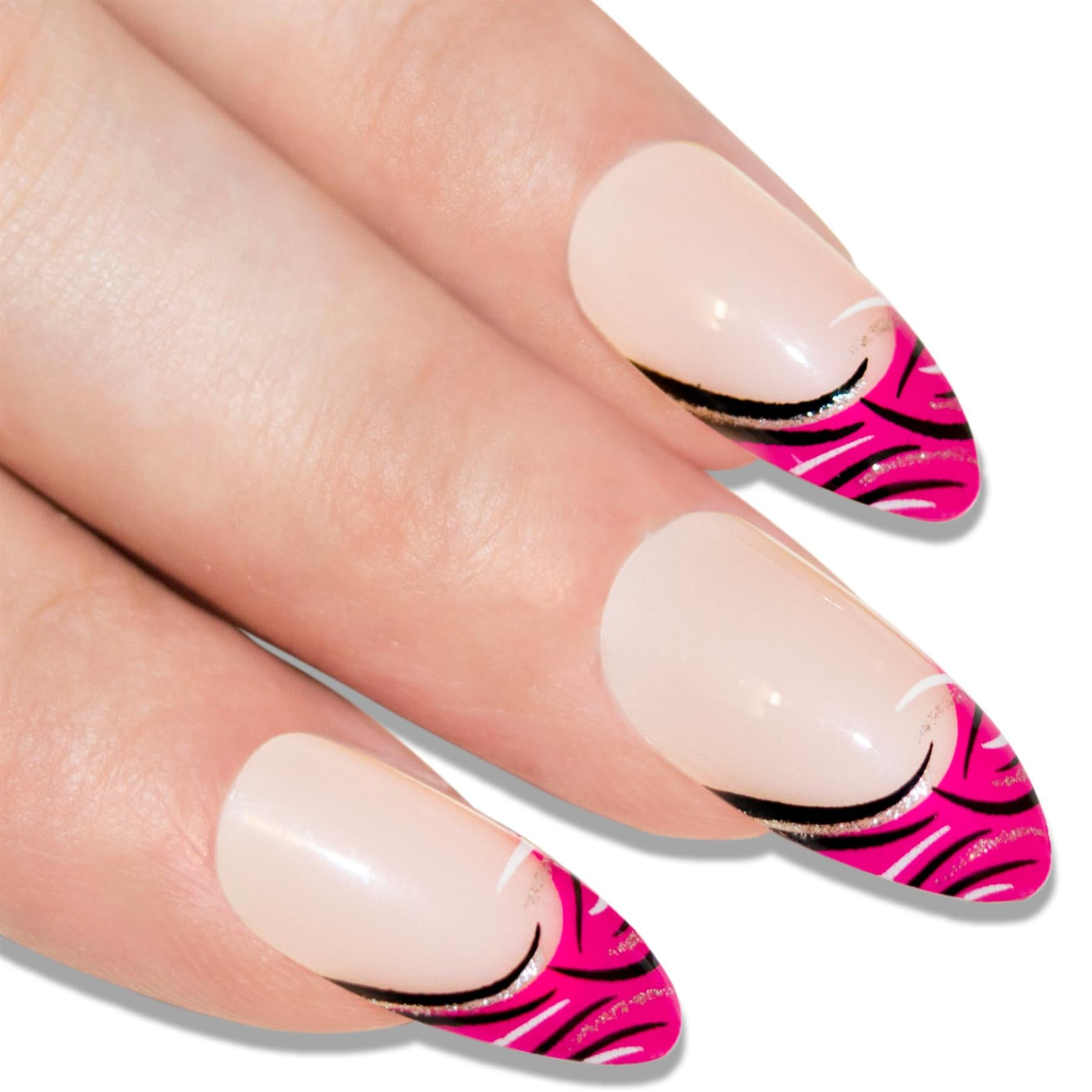 False Nails by Bling Art Glitter Pink 24 Almond Stiletto Long Fake Tips with Glue, Health & Beauty by Bling Art