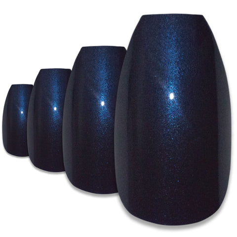 False Nails by Bling Art Blue Glitter Ballerina Coffin 24 Fake Long Acrylic Tips - Bling Art