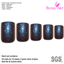False Nails by Bling Art Blue Purple Water French Squoval 24 Fake Medium Tips