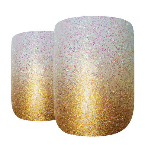False Nails by Bling Art Gold Gel Ombre French Squoval Fake Medium Acrylic Tips - Bling Art
