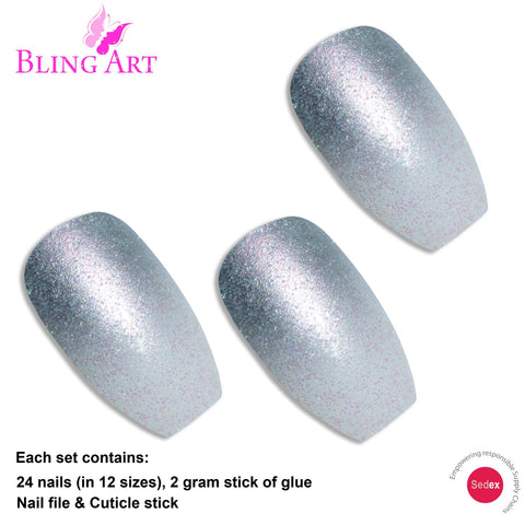 False Nails by Bling Art Silver Gel Ombre Ballerina Coffin 24 Fake Acrylic Tips - Bling Art