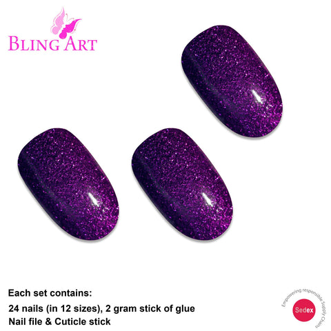 False Nails by Bling Art Purple Gel Oval Medium Fake Acrylic Tips with Glue - Bling Art