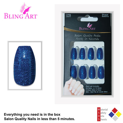 False Nails by Bling Art Blue Gel Ballerina Coffin 24 Fake Long Acrylic Tips - Bling Art
