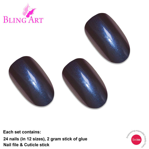 False Nails by Bling Art Blue Purple Chameleon Oval Medium Fake 24 Nail Tips - Bling Art