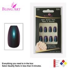 False Nails by Bling Art Green Purple Chameleon Ballerina Coffin 24 Fake Tips