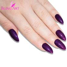 False Nails Bling Art Purple Gel Almond Stiletto Long Fake Acrylic Tips and Glue
