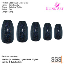 False Nails by Bling Art Black Gel Ballerina Coffin 24 Fake Long Acrylic Tips