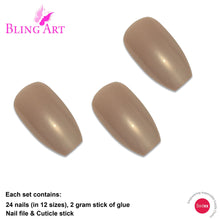 False Nails by Bling Art Beige Glitter Ballerina Coffin Fake Long Acrylic Tips