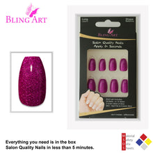 False Nails by Bling Art Magenta Gel Ballerina Coffin 24 Fake Long Acrylic Tips
