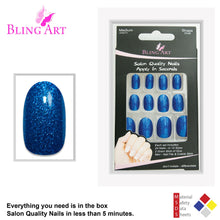 False Nails by Bling Art Blue Gel Oval Medium Fake Acrylic 24 Tips with Glue
