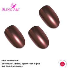 False Nails by Bling Art Brown Matte Metallic Oval Medium Fake Acrylic Tips Glue