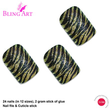 False Nails by Bling Art Gold Black French Manicure Fake Medium Tips with Glue