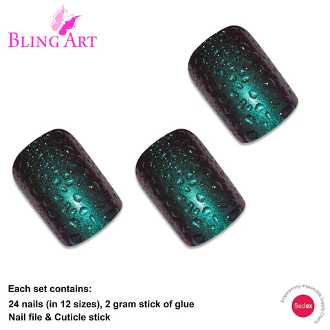 False Nails by Bling Art Green Purple Water French Squoval 24 Fake Medium Tips - Bling Art