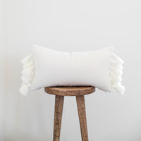 Off White Thick Weave Pom - 12x20'' Lumbar