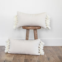 Off White Thick Weave Pom - 12x20'' Lumbar - 2 pack