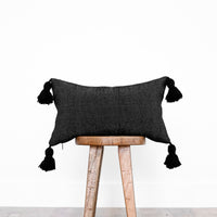 Moroccan Weave Pillow Cover - 12x20'' Lumbar - NOIR