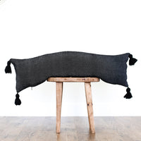Moroccan Weave Pillow Cover - 12x40'' Lumbar - NOIR