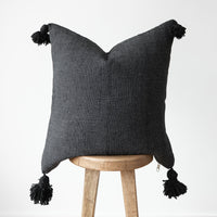 Moroccan Pom Pom Pillow Cover - 22'' - Noir