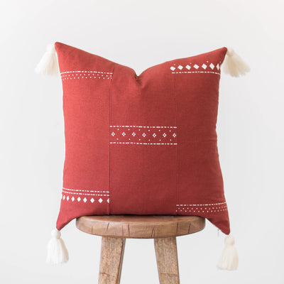 Red and White Pom Pillow Single - 18