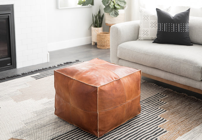 Moroccan Pouf - Rami in Brown