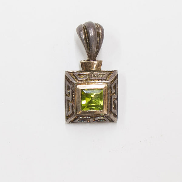 925 Silver pendant with Step Cut Square Green Stone in gold frame. | 2426
