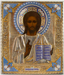 4534b | Russian Icon: Christ Pantocrator with Silver & enamel oklad.