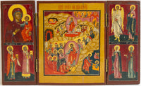 Russian Icon Triptych of Resurrection, Mother Of God & Saints | 1858