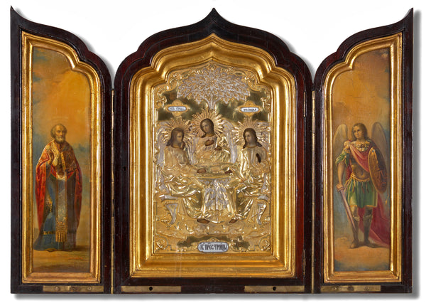 4501 | Triptych of The Old Testament Trinity with St. Nicholas & Archangel Michael